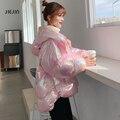 Новинка 2020, зимняя женская куртка, теплая парка со светоотражающей хлопковой подкладкой, Женское пальто, розовая Зимняя верхняя одежда с ла...