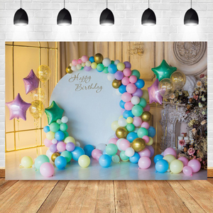Image 3 - Laeacco Blue Light Bokeh Castle Gold Butterfly Balloon Gift Flowers Ball Candle Party Baby Photo Backdrop Photography Background
