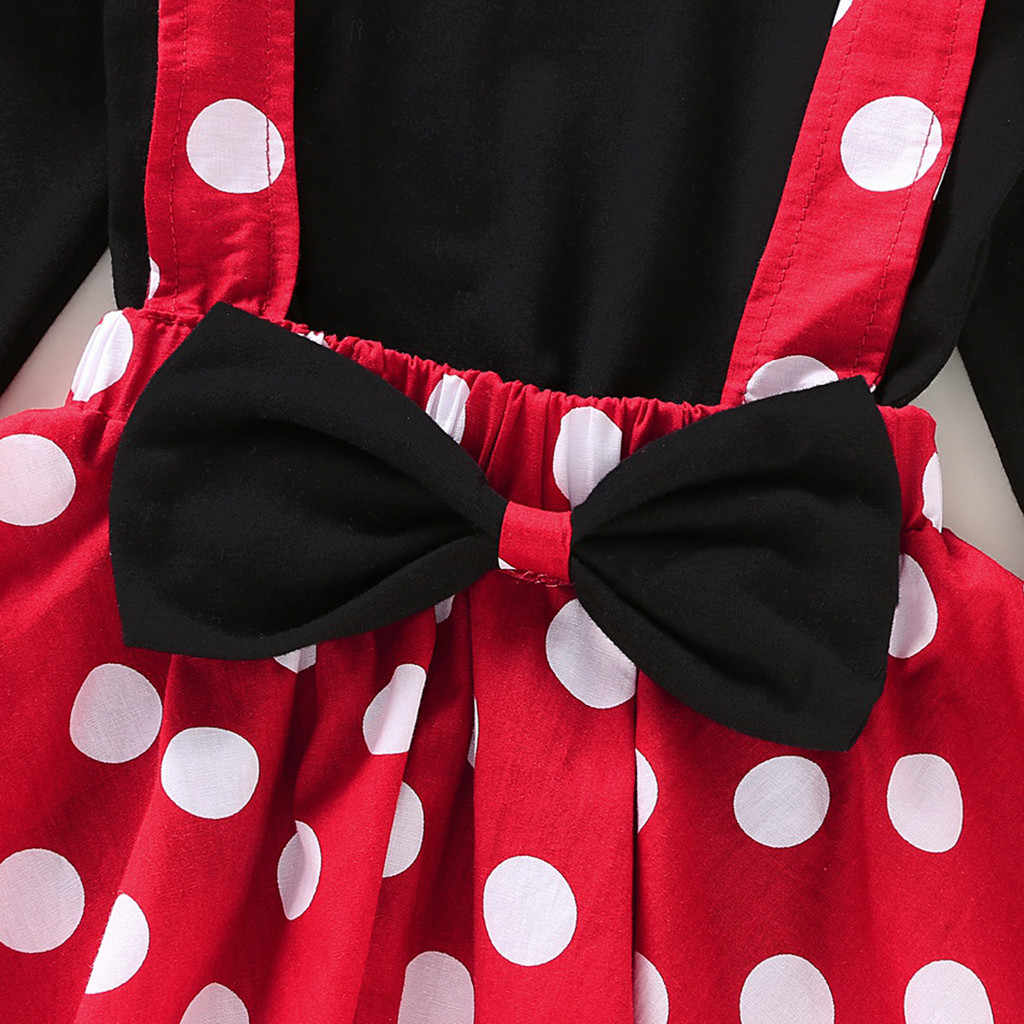 Minnie Mouse conjunto de ropa para niñas pequeñas Polka Dot niños niña Otoño Invierno ropa de bebé volantes camisetas + falda de correa