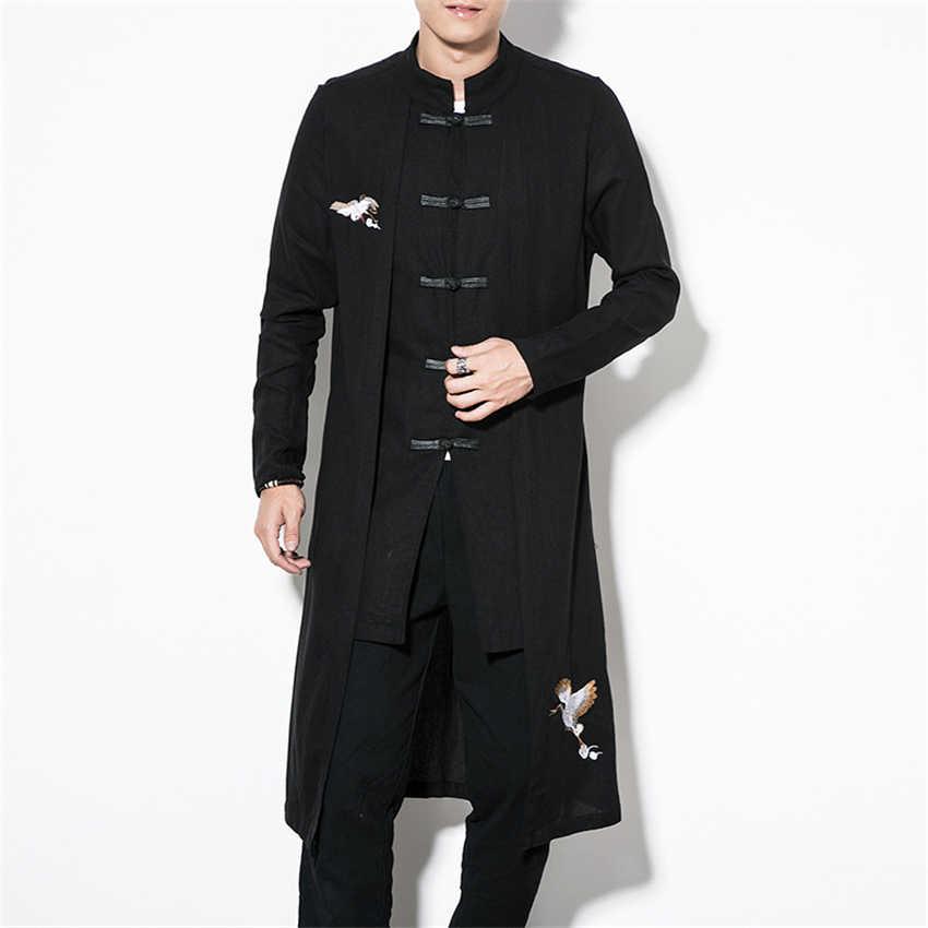 중국 스타일 탑스 2020 뉴스 코트 리넨 자수 크레인 캐주얼 긴 가운 새해 복장 남성용 전통 중국 의류