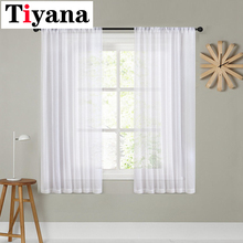 Tiyana short curtain white For Living Room Kitchen Sheer Curtains Door Wedding Party Background Decor Window Drapes P276X cheap Translucidus (Shading Rate 1 -40 ) Tulle Left and Right Biparting Open Exterior Installation Yarn Dyed Bay Window Modern