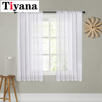 Tiyana short curtain white For Living Room Kitchen Sheer Curtains Door Wedding Party Background Decor Window Drapes P276X - discount item  23% OFF Home Textile