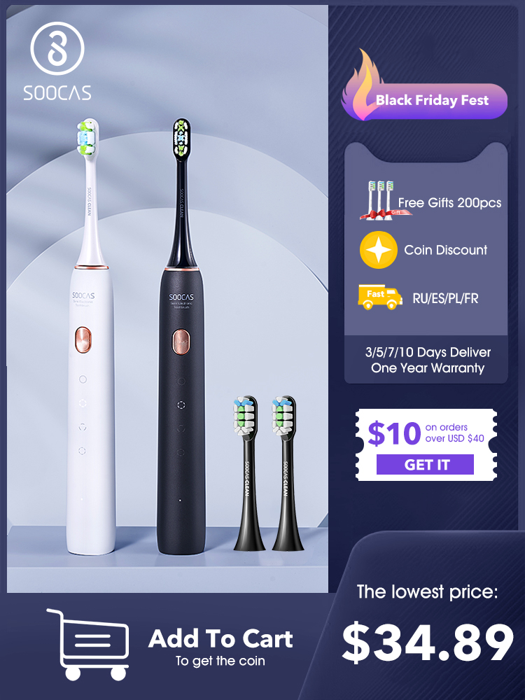 Electric Toothbrush Sonic Rechargeable Adult Waterproof SOOCAS X3U Fast USB