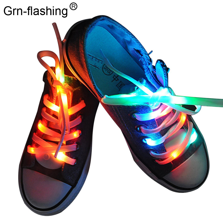 1 Pair Waterproof LED Luminous Shoelaces Flash Party Skating Glowing Shoe Laces For Boys Girl Fashion Luminous Shoe Strings