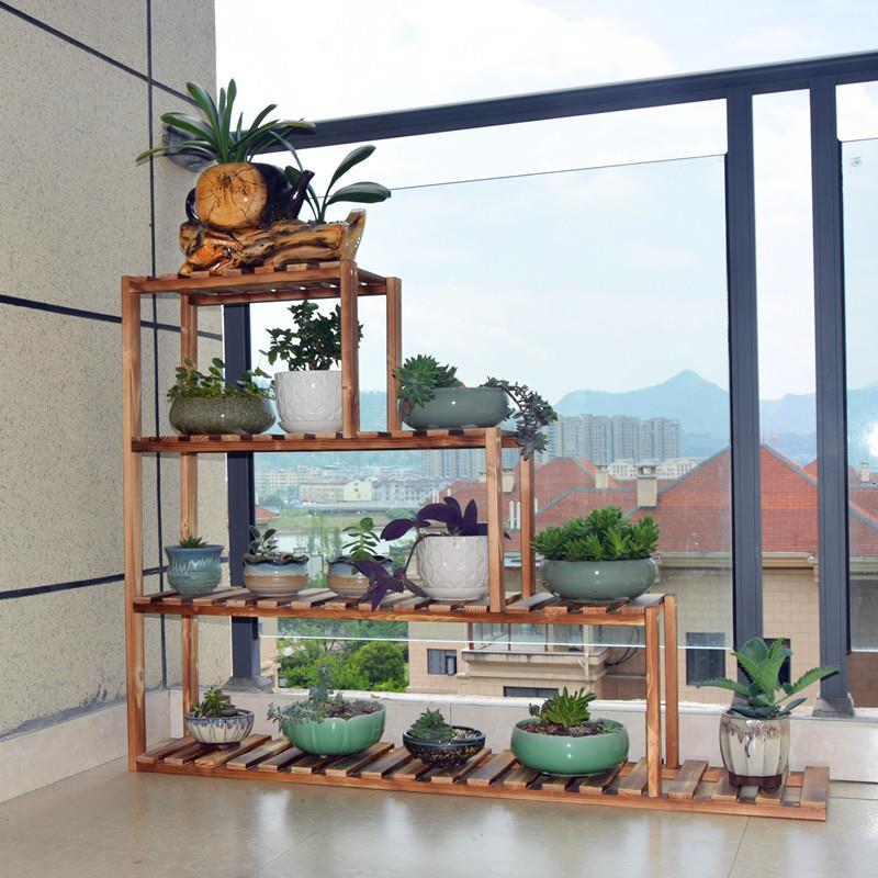 Para Plantas Wooden Shelves For Varanda Saksi Standi Rak Bunga Balcony Shelf Outdoor Dekoration Plant Rack Flower Stand