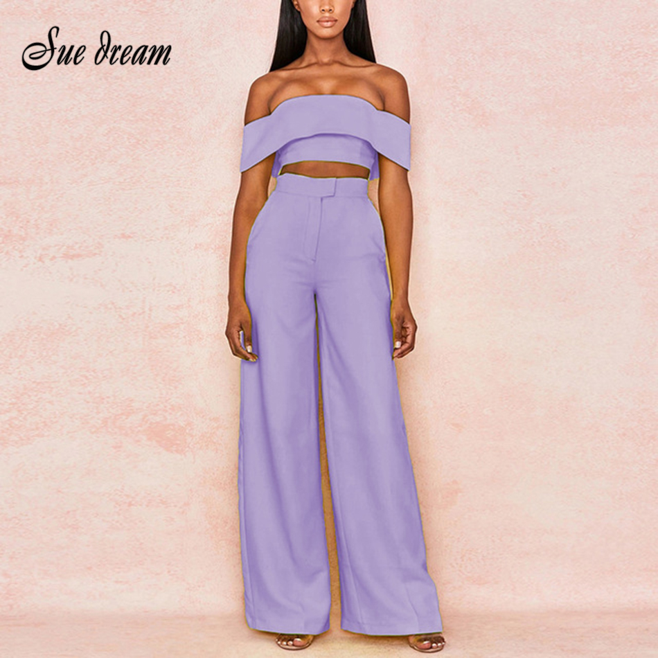 Chic 2-Piece Two-Piece Women's Strapless Backless Short Crop Top & High Waist Wide Leg Solid Color Casual Bodycon Club Set 2020