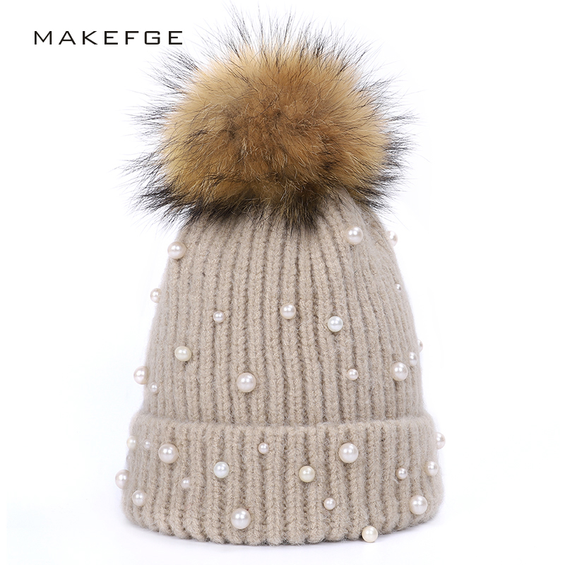 2019 Fashion Pearl Knit Hat Female Real Fur Pom-pom Hat Winter Warm Raccoon Ball Cotton Hat High Quality Thickening Ladies Hat