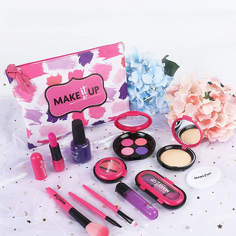 12 Pcs Girls Cosmetic Toys Eyeshadow Lipstick Blush Nail Polish Makeup Toy Cosmetic Bag Simulation Play House Toy Birthday Gift