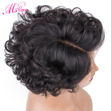Short Curly Human Hair Wigs Remy Brazilian Lace Front Left Right Partin