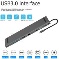 10 in 1 HUB USB C 4K Docking station Type C HDMI RJ45 Gigabit Lan PD 100W Power supply thunderbolt Hub