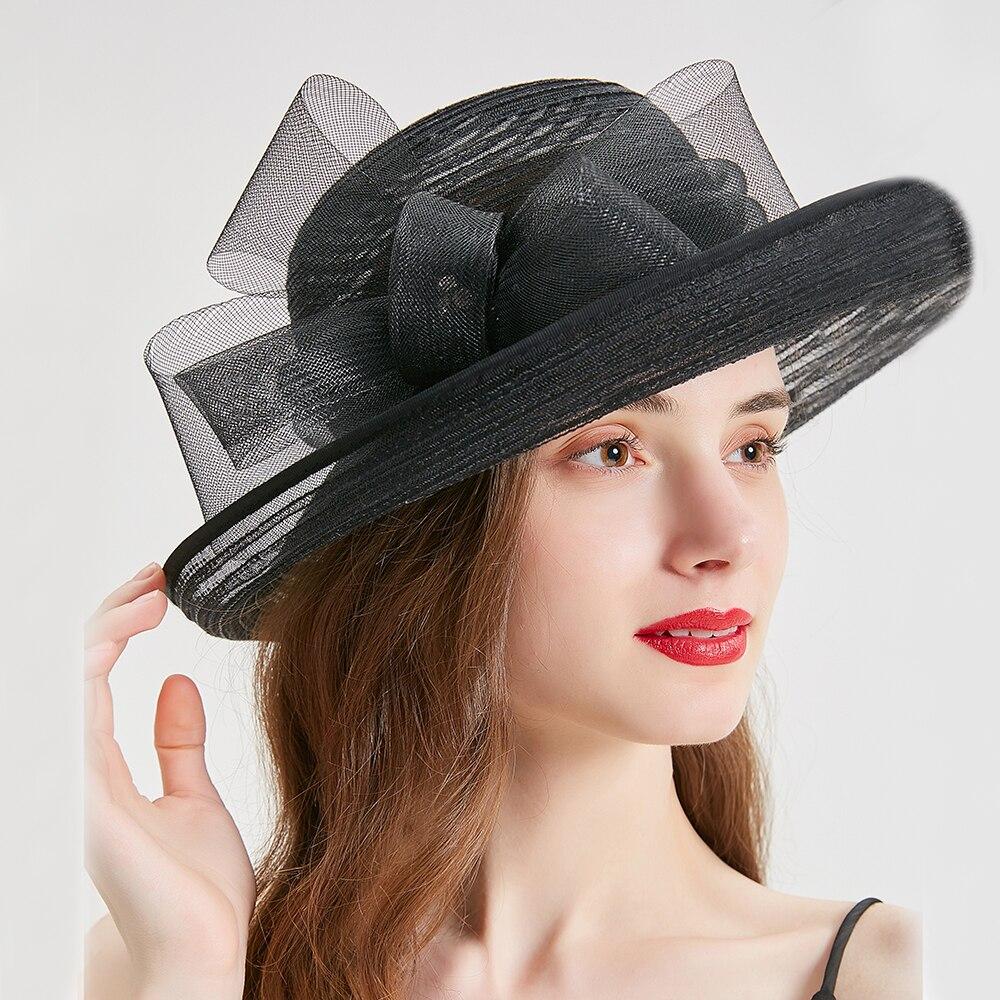 Фетровых церкви Шапки для Для женщин Элегантный Королевский Свадебная женская шляпа для торжественного случая женский, черный соломенная