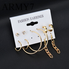 5 Set Korean Circle Long Chain Earrings Gold Trendy Ear Ring Hoop Combination Special Circle Big Statement Long Earrings Silver(China)