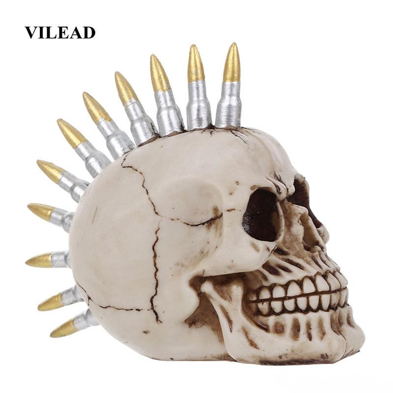 VILEAD 15cm Resin Skull Head With Bullet Handicraft Personality Decoration Skull Statue Fashion Bar Decoration Halloween Props