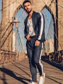 2020Men new sportswear vertical sportswear suit Fall/Winter striped menswear Zipper menswear Chandal Hombre футболка burton menswear london burton menswear london bu014emfwzk1