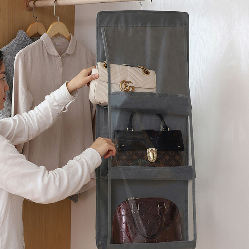 Clear Hanging Purse Handbag Tote Bag Storage Organizer Closet Rack Bag 6 Pockets Shelf Bag Storage Holder Wardrobe Organizer