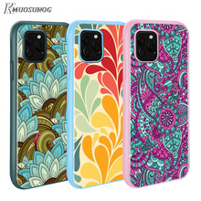 for iPhone 11 11Pro XS XR X Max Candy Color Phone Cover Retro flower Pattern for iPhone 8 7 6s Plus 5s Mobile Phone Case(China)