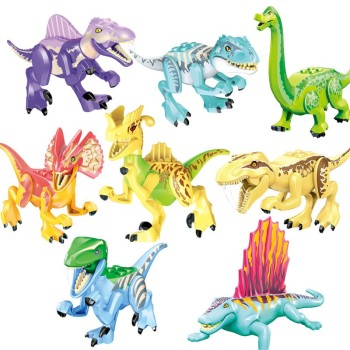 Blocks Jurassic Dinosaurs Tyrannosaurus Rex Wyvern Velociraptor Stegosaurus Building Kits Toys For Children Dinosaur jurassic dinosaur park indominus rex diy blocks dinosaurs tyrannosaurus rex tiny models building block kids toys creator animals