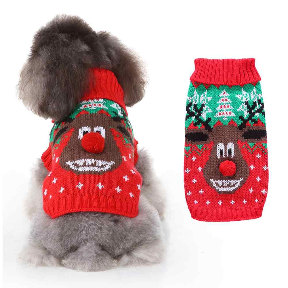 Dog Sweaters for Small Dogs Pets Puppy Dog Clothes Winter Elk Print Costume Jumper Warm Dog Sweater Christmas Dog Coat Jacket