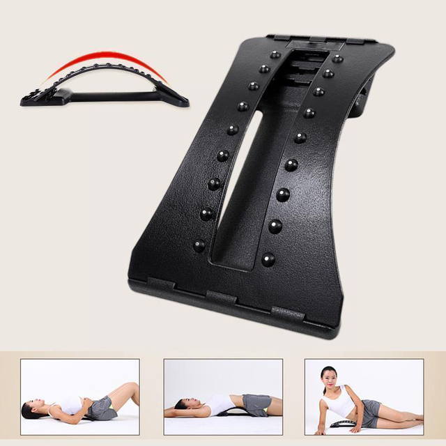 Back Massager Stretcher Fitness Lumbar Support Waist Spine Pain Relief 3