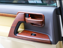 Car Styling Inteior Wooden Color Door Handle Cover Holder Bowl Insert Trim 2008-2017 For Toyota Land Cruiser 200 Accessories wooden color door holder handle ac outlet dashboard trim lc 200 car styling 2016 2017 for toyota land cruiser 200 accessories