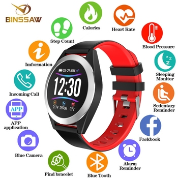 BINSSAW smart Sports watch Bluetooth fitness Bracelet Heart rate blood pressure IP68waterproof Multi-function Smartwatch for IOS
