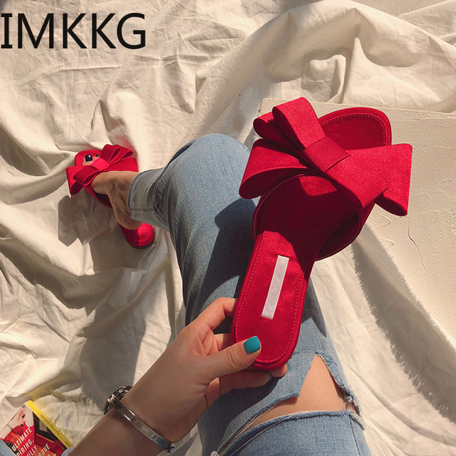 Wearing Flat Slippers Women's Shoes 2019 Korean Version Summer New Large Bow Satin Round Head Sandals Wild Half Slippers S80033