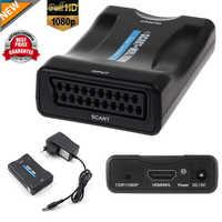 1080P péritel vers HDMI convertisseur Audio haut de gamme adaptateur vidéo pour HDTV Sky Box STB pour Smartphone HD TV DVD nouvelle prise d'alimentation EU/US