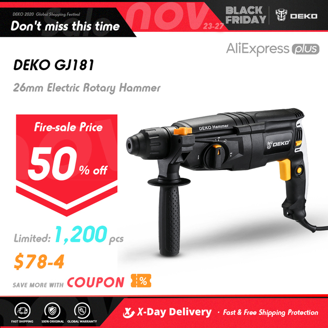 DEKO 220V 26mm 4 Functions AC Electric Rotary Hammer with BMC and 5pcs Accessories Impact Drill Power Drill Electric Drill 1