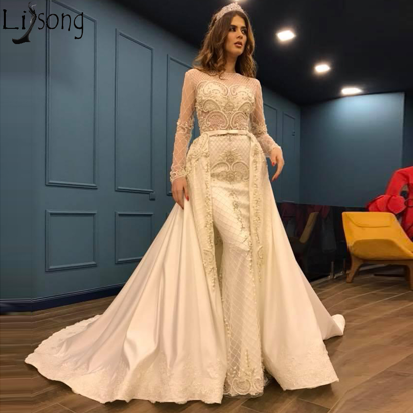 Beige Overskirts Mermaid Prom Dresses 2019 Long Sleeve Lace Beaded Evening Dress With Detachable Train Arabic Women Formal Gowns