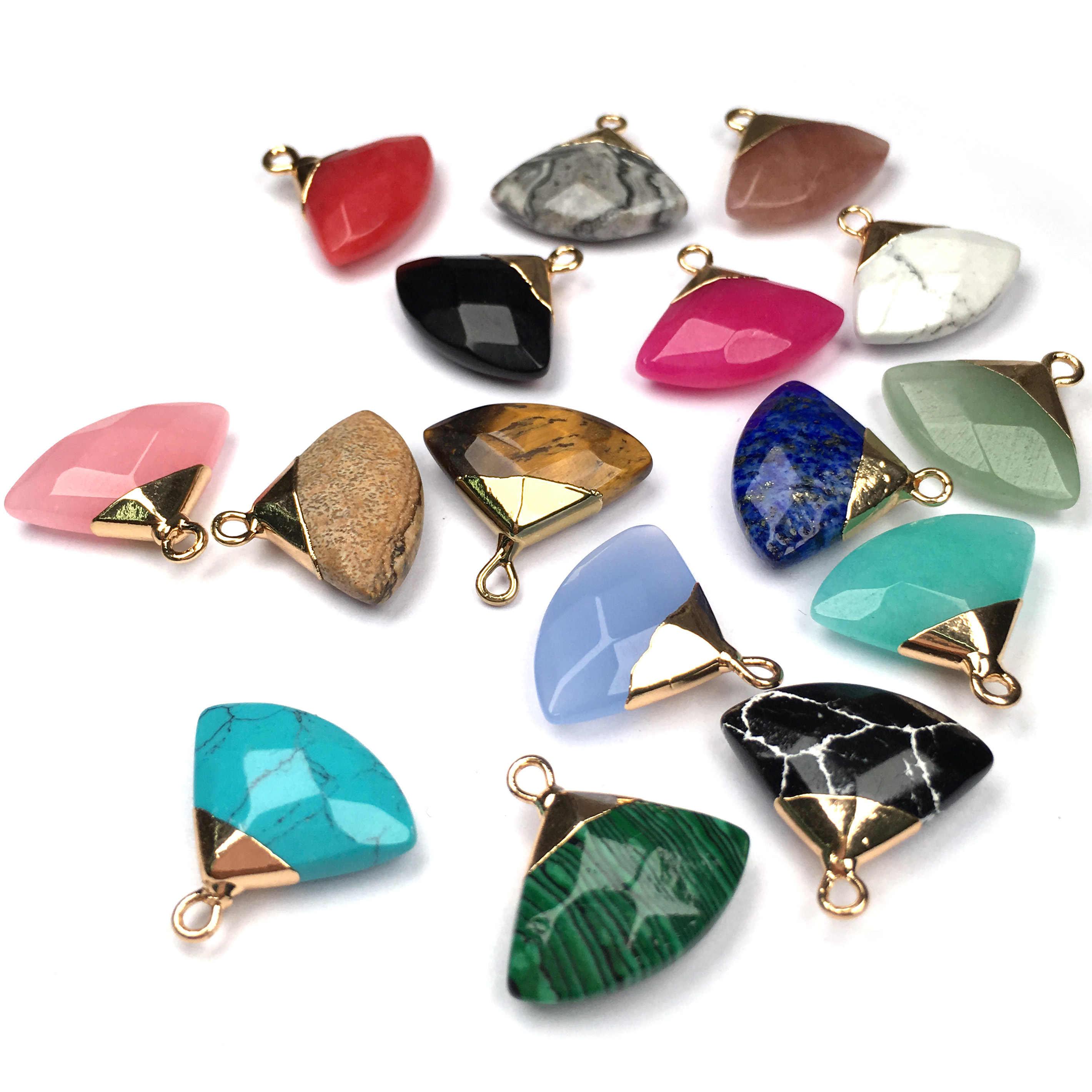 Naturale Pietra Di Cristallo Del Pendente di fascino di Figura del Ventilatore Pendenti Con Gemme E Perle per Monili Che Fanno FAI DA TE Belle collana di accessori