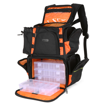 Lixada Fishing Backpack Waterproof Fishing Lures Reel Bag Adjustable Straps Fish Tackle Storage Bag +Fishing Tackle Boxes Fishing Bags cb5feb1b7314637725a2e7: Trays Included|Trays Included|Trays Included|Trays Not Included