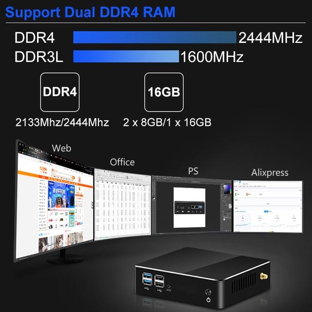 Mini PC 8th Intel Core i7 i5 i3 processeur DDR4 RAM DP HDMI M.2 SSD Windows 10 8 Linux 4K UHD HTPC ordinateur de bureau Nettop Nuc