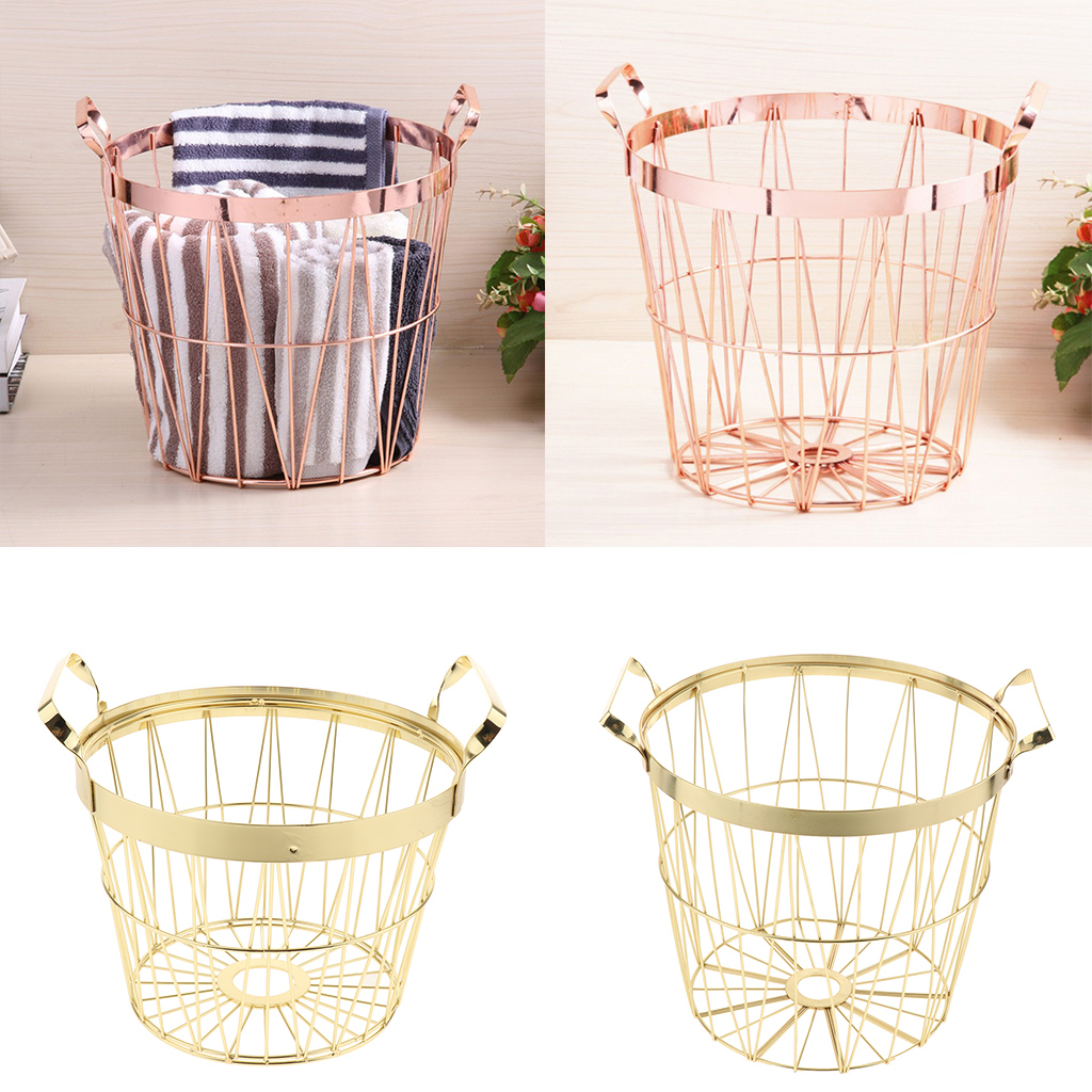 Simple Metal Storage Basket Home Bathroom Dirty Clothes Finishing Basket Portable With Handles Design