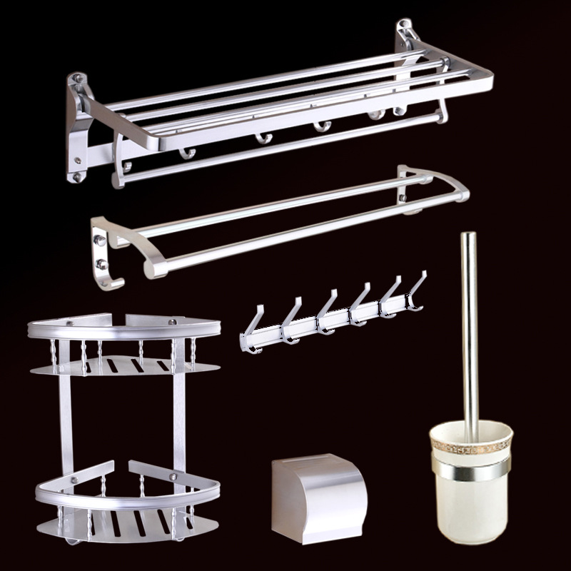 Alumimum Top Grade Bathroom Pendant Suit Towel Rack Sanitary Ware Bathroom Hardware Accessories Light Five Pieces Set