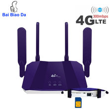 3G 4G CPE WiFi Router Support Sim Card 4*5dBi Antennas 2.4Ghz 300Mbps LTE Wireless Router WiFi Hotspot & Modem for outdoor