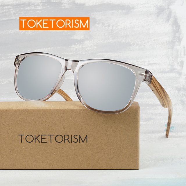 Toketorism 2019 zebra Wood sunglasses Polarized ebony wooden sun glasses Transparent Gray Frame for men women 1051