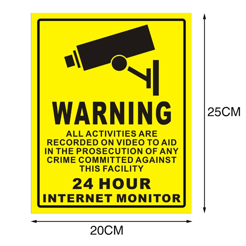 CTVMAN CCTV Security IP Camera Warning Sticker PVC 24 Hours Alarm Safety Warning Mark Sign