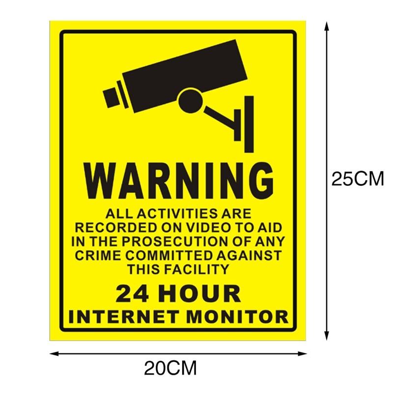 CTVMAN CCTV Security IP Camera Warning Sticker PVC 24 Hours Alarm Safety Warning Mark Sign
