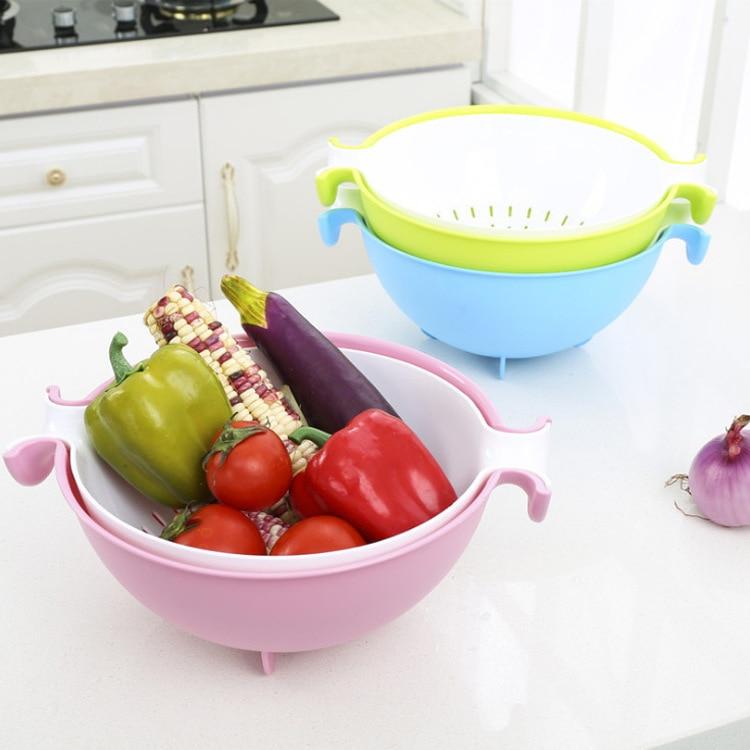 Amazon Double Layer Dual Handle Washing Vegetable Basket Wash Fruit Rotating Drain Basket Multi-functional Flip Plastic Basin Dr