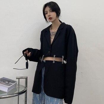 [EWQ] Spring Autumn 2021 Female Sashes Black Button Turn-down Collar Long-sleeved Blazer Coat Single Breasted Loose Blazer Top  1