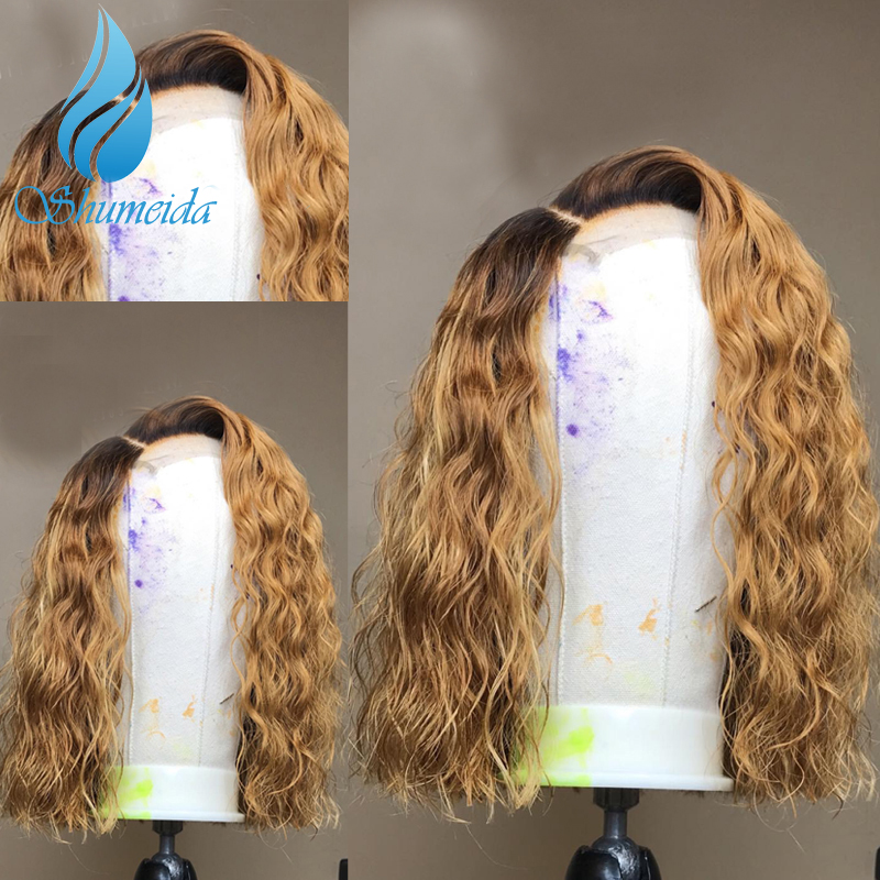 SMD 13x6 Ombre Honey Blonde Lace Front Wigs with Baby Hair Deep Curly Brazilian Remy Human Hair Wigs with Pre Plucked Hairline