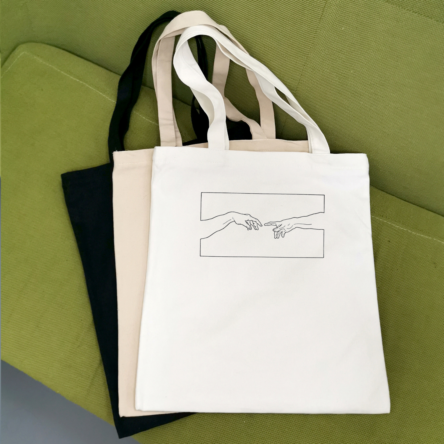 Creation Hands Line Art Canvas Cotton Simple Cartoon Print Large Shopping Bags Girls Solid Color Life Casual Pacakge Hand Bag