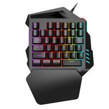 Gaming Keyboard Mechanical 35 Key Wired Keyboard LED Mini USB One Hand Backlit Keyboard Computer Game For Gamer PC Laptop