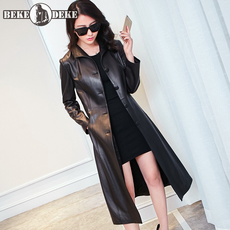 Real Leather Sheepskin Overcoat Women Spring 2020 Slim Single Breasted Windbreakers Brand OL Black Long Coat Plus Size 8XL