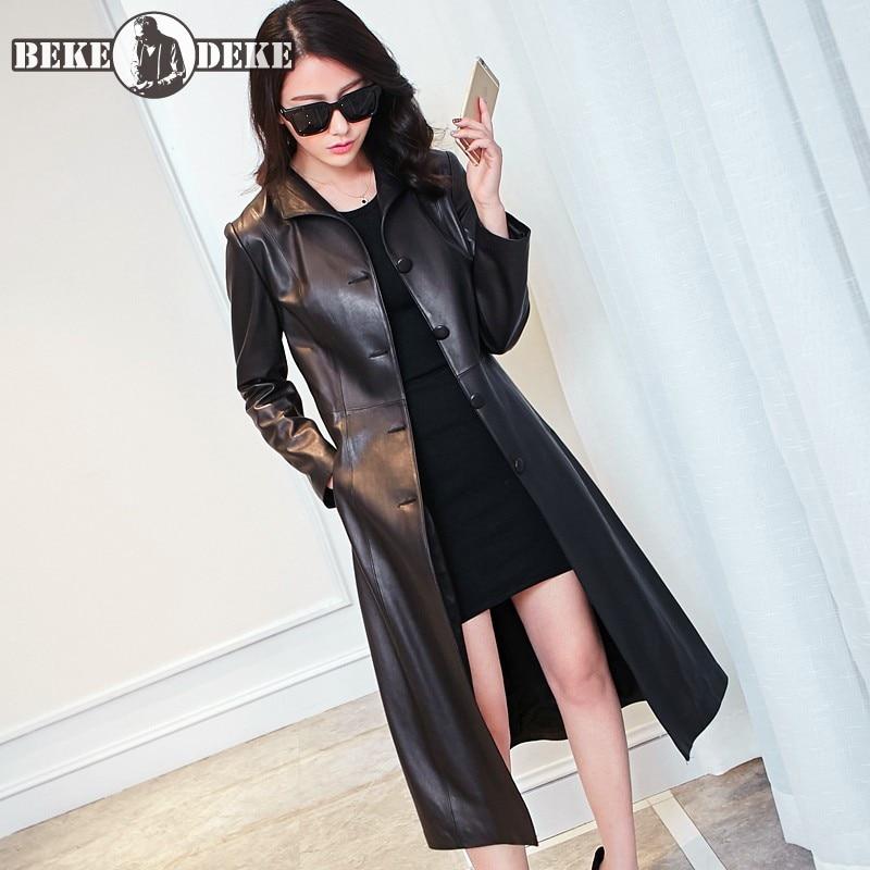 Real Leather Sheepskin Overcoat Women Spring 2020 Slim Single Breasted Windbreakers Brand OL Black Long Coat Plus Size 8XL