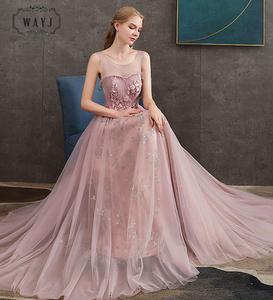 Новинка 2020, розовое вечернее платье принцессы, длинное нежное платье с аппликацией из бисера, женское торжественное платье с маленьким шлей...