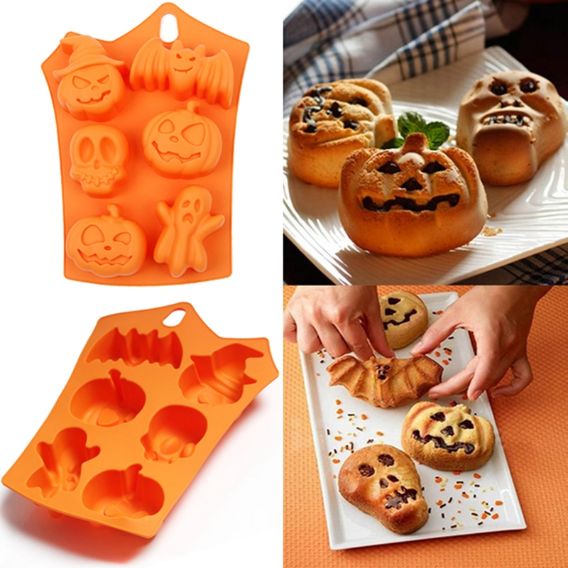 1pcs 6 Grids Pumpkin Bat Skull Ghost Shape Halloween Silicone Mold Candy Chocolate Pudding Mold for Halloween Party Decoration(China)