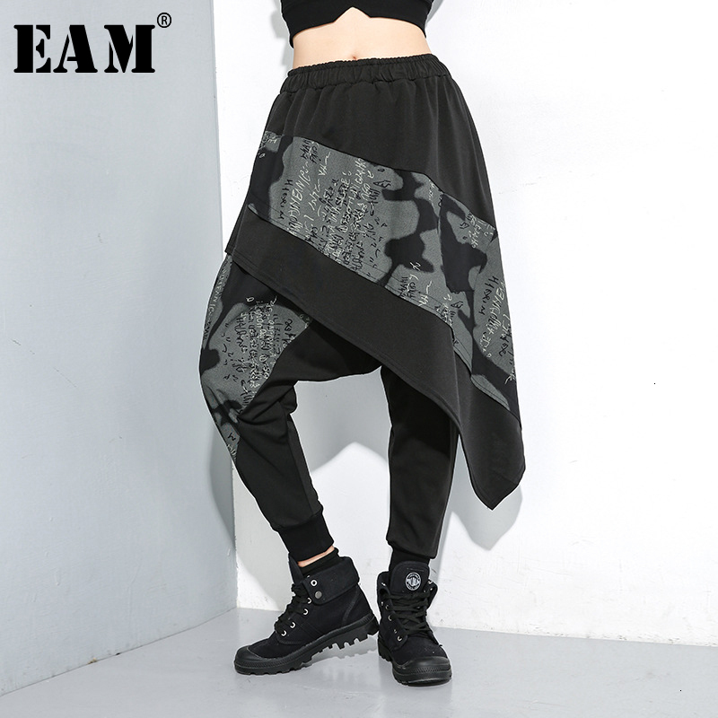 [EAM] High Elastic Waist Pattern Print Asymmetrical Trousers New Loose Fit Pants Women Fashion  Spring Autumn 2020 19A-a142