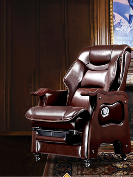 Boss chair Business leather president office chair Massage chair cowhide large chair solid wood can lie computer chair home computer chair home boss chair leather business reclining massage executive chair solid wood swivel chair lift office seat