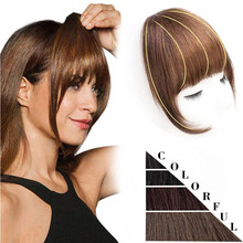 White Black Brown Gold Fake Fringe Clip In Blunt Bangs Synthetic Hair Extensions With High Temperature Fiber